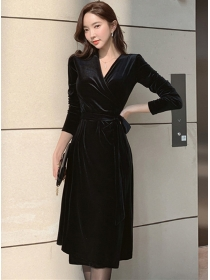 Korea Autumn Tie Waist V-neck Velvet Long Sleeve Dress