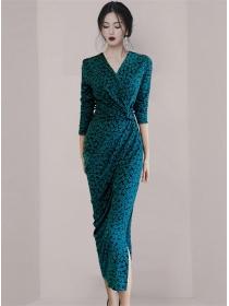 Pretty Fashion V-neck High Waist Flowers Split Long Dress
