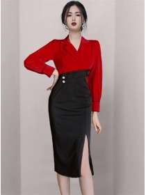 Brand Fashion Color Block Tailored Collar Bodycon Dress