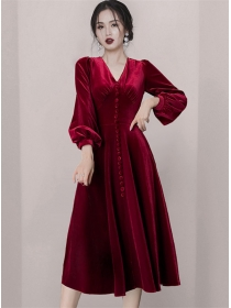 Modern Lady Single-breasted V-neck Velvet Long Dress