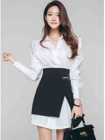 Modern OL Puff Sleeve Shirt Dress with Split A-line Skirt