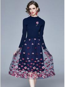 Europe Stylish Flowers Embroidery Knit Splicing Gauze Dress