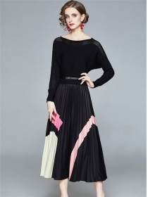 Modern Lady Batwing Hollow Out Pleated A-line Dress