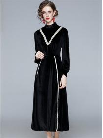 Fashion Retro High Waist Lace Splicing Long Sleeve Velvet Dress