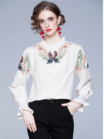 Pretty Fashion Butterfly Flowers Puff Sleeve Blouse