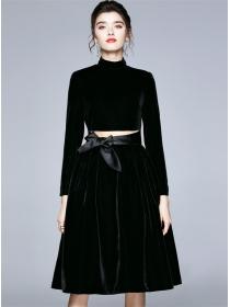 Grace Fashion Tie Bowknot Waist Velvet Long Dress