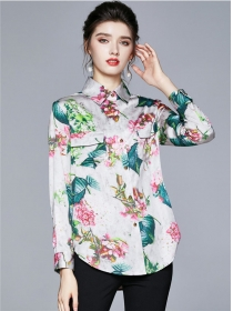 Wholesale Stylish Flowers Shirt Collar Long Sleeve Blouse