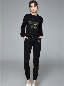 Quality Fashion Butterfly Flowers Embroidery Cotton Long Suits