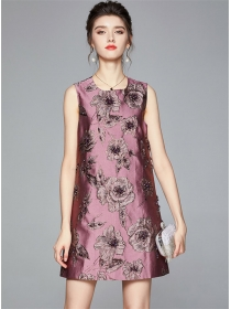 Europe Stylish Beads Jaquard Flowers Tank A-line Dress