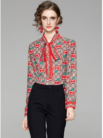 Pretty Fashion Tie Collar Flowers Long Sleeve Blouse