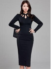 Modern OL Hollow Out Collar Bodycon Long Sleeve Dress