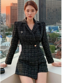 Fashion Lady One Button Tailored Collar Tweed Coat Dress