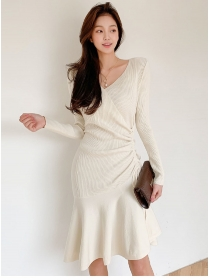 Wholesale Korea 4 Colors Draw-string Pleated Knitting Dress
