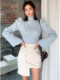 Modern OL Stand Collar Puff Sleeve Knitting Tops with A-line Skirt