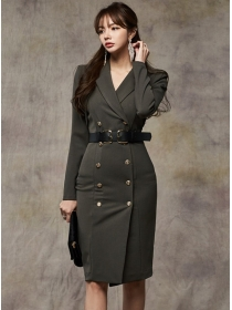 Brand Fashion Double-breasted Tailored Collar Slom Coat Dress