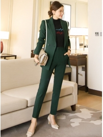 Boutique Fashion Tailored Collar Slim Jacket with Long Pants