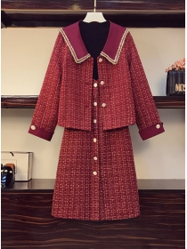 Modern Plus Szie Doll Collar Tweed Jacket with Single-breasted Dress