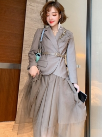 Grace 2 Colors Tailored Collar Jacket with Gauze Fluffy Skirt