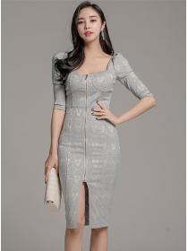 Wholesale Korea Zipper Open Square Collar Flowers Slim Dress