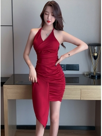 Wholesale 2 Colors V-neck Pleated Halter Slim Dress