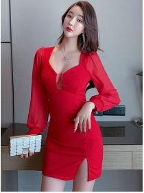 Fashion Wholesale 2 Colors Low Bust Puff Sleeve Slim Dress
