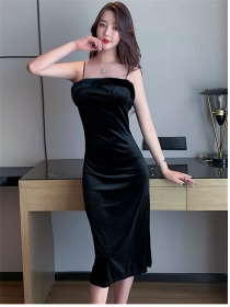 Sexy Wholesale Fur Bust Straps Slim Velvet Dress