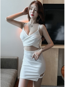 Sexy Fashion 2 Colors Low Bust Hollow Out Slim Dress
