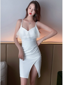 Fashion Sexy 2 Colors Gauze Flouncing Straps Slim Dress