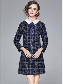 Retro Fashion Bowknot Doll Collar Tweed A-line Dress