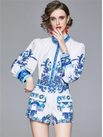 Wholesale Europe Flowers Puff Sleeve Blouse with Short Pants