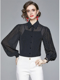 Europe Stylish Stripes Puff Sleeve Loosen Blouse