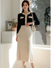 Korea Autumn Buttons Open Pleated Knitting Two Pieces Dress