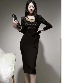 Retro Fashion Tie Waist Lace Splicing Bodycon Dress
