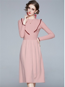 Europe Wholesale 3 Colors Pleated Knitting A-line Dress