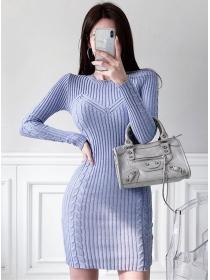 Wholesale Korea Round Neck Slim Knitting Long Sleeve Dress