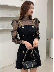 Charm Gauze Blouse with Double-breasted Tweed Straps Dress