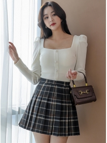 Grace Fashion Square Collar Blouse with Plaids Pleated Skirt