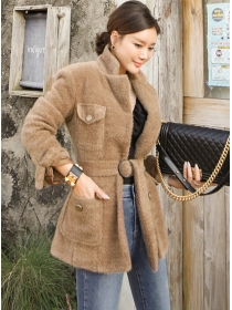 Retro Fashion Tailored Collar Tie Waist Woolen Coat