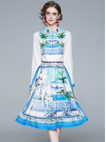 Europe Wholesale Shirt Collar Flowers Pleated A-line Dress