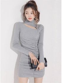 Fashion Autumn Stand Collar Hollow Out Pleated Knitting Dress