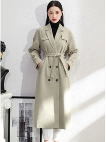 Brand Fashion Tailored Collar Tie Waist Double-breasted Coat
