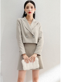 Modern Lady Tailored Collar Jacket with Straps Slim Dress