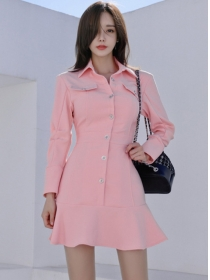 Pretty Fashion Single-breasted Fishtail Shirt A-line Dress