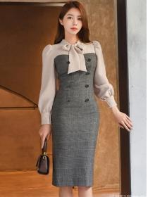 Retro OL Tie Collar Double-breasted Color Block Slim Dress