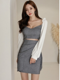 Wholesale Sexy Hollow Out Low V-neck Puff Sleeve Dress