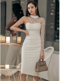 Sexy Fashion Off Shoulder Lace Sleeve Slim Dress