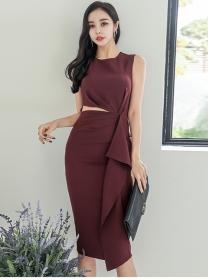 Wholesale Korea Waist Hollow Out Flouncing Slim Tank Dress