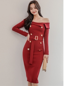 Wholesale Korea Boat Neck Double-breasted Slim Dress