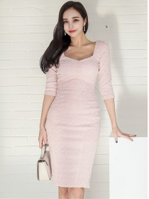 Modern Lady Square Collar Mid-sleeve Bodycon Dress