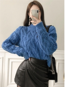 Wholesale 4 Colors Stand Collar Loosen Short Sweater